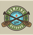 vintage camping time round colorful logotype vector image vector image