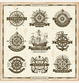 vintage nautical labels collection vector image vector image