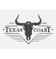 western logo with bull skull vector image vector image