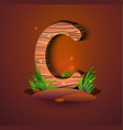 wooden letter c decorated with grass vector image vector image
