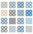 Plaid patterns collection light blue and beige vector image
