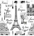 travel paris city seamless pattern europe famous vector image