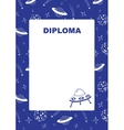 Kids diploma with space background vector image