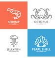 set of jellyfish and seafood shrimp shell vector image