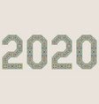 2020 year sign in palace alhambra style vector image vector image