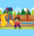 a boy listen to music at playground vector image vector image