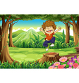 A joyful boy at the jungle vector image vector image