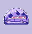adventure badge with minivan and mountains vector image vector image