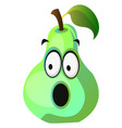 amazed pear cartoon face on white background vector image vector image