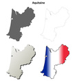 Aquitaine blank detailed outline map set vector image vector image