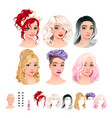avatars 6 hairstyles 6 make-up 6 mouths 1 head vector image