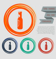 beer bottle icon on the red blue green orange vector image