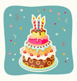 birthday cake tier candles strawberry vector image vector image
