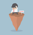 Businessman standing on unstable rock Business ri vector image