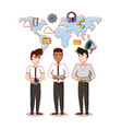 businessmen group with social media icons vector image vector image