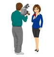 cameraman recording female journalist vector image vector image
