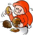 cartoon of an happy elf that eats delicious vector image vector image