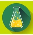 Chemical triangular lab flask with liquid icon vector image vector image