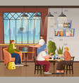 coffeehouse with visitors and clients interior vector image vector image
