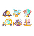 collection toy transport with cute animals vector image vector image