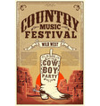 country music festival poster party flyer vector image vector image