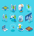 cyborg isometric icons collection vector image vector image