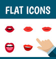 flat icon lips set of teeth lipstick tongue and vector image vector image