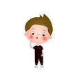funny cute little boy with funny haircut spends vector image