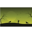 Halloween crow and hand zombie silhouette vector image vector image