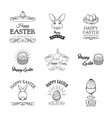 happy easter set elements for greeting card vector image