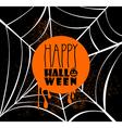 happy halloween pumpkin text over spider web eps10 vector image vector image