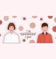 keep distance sign with man and woman coronovirus vector image vector image