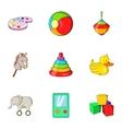 Kids fun icons set cartoon style vector image vector image