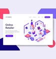 landing page template online retailer concept vector image vector image