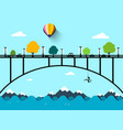 landscape with bridge flat design vector image vector image