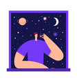 man with cup tea coffee in starry sky vector image vector image