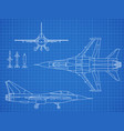 military jet aircraft drawing blueprint vector image vector image