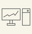monitor with graph on the screen thin line icon vector image vector image