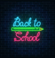 neon banner with back to school greeting text vector image vector image