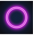 neon purple circle frame sign brick wall vector image vector image