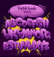 purple bomb font vector image vector image
