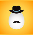retro easter egg with hat and mustache vector image vector image
