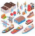 sea port isometric set vector image vector image