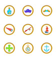 sea travel icons set cartoon style vector image