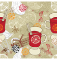 Seamless doodle background with mulled warm wine vector image vector image