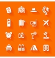 set white travel icons vector image