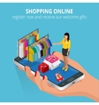 Shopping online Mobile store Flat vector image