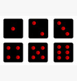 six black dice sides vector image vector image