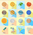 space planet icon set flat style vector image vector image