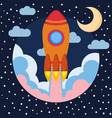 space rocket ship in round piece with moon vector image vector image